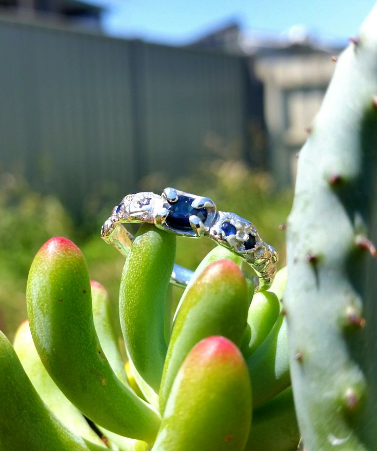 Sapphire & sterling silver engagement ring, handmade by Stephanie Rachael Jewellery.