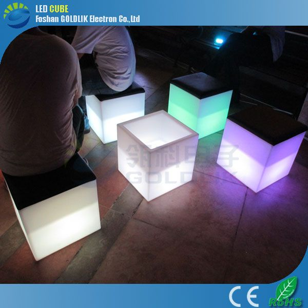 40cm led colorful plastic cube stool www.goldlik.com