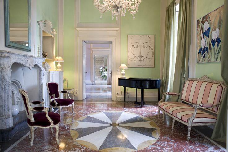 La sala verde di Villa Acquaroli, una location per matrimoni e ricevimenti