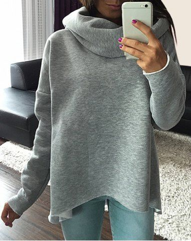 Casual Cowl Neck Solid Color Long Sleeve Loose Pullover Sweatshirt