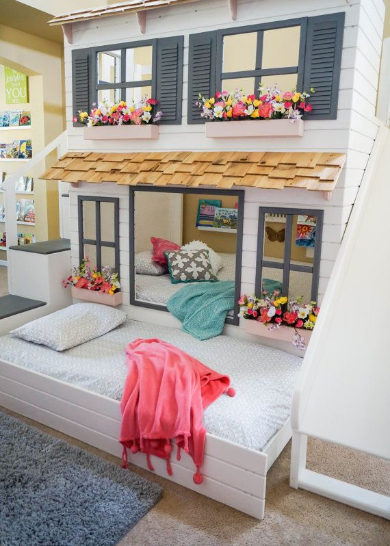 The Ultimate Custom Dollhouse Loft, Bunk or Triple Bunk Bed, Optional Trundle, Slide, Step Block Staircase w/ Built-in Storage or Ladder