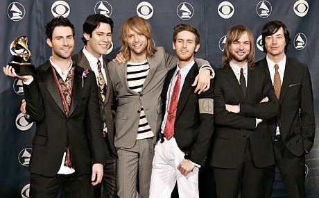 Musician Adam Levine, Ryan Dusick, James Valentine, Jesse Carmichael, Mickey Madden and Matt Flynn of the group Maroon 5 pose in the press room at the 48th Annual Grammy Awards on February 8, 2006 in Los Angeles, California.