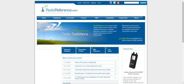 Listen to Police Scanners Online - Four Free Sources: Radio Reference