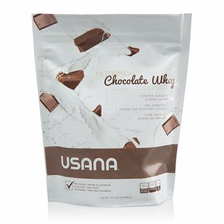 USANA Nutrimeal ™ aromatisé au chocolat de lactosérum est un substitut de repas nutritifs sous la forme d'un smoothie mélange saveur de chocolat qui fournit 15 grammes de protéines de lactosérum.