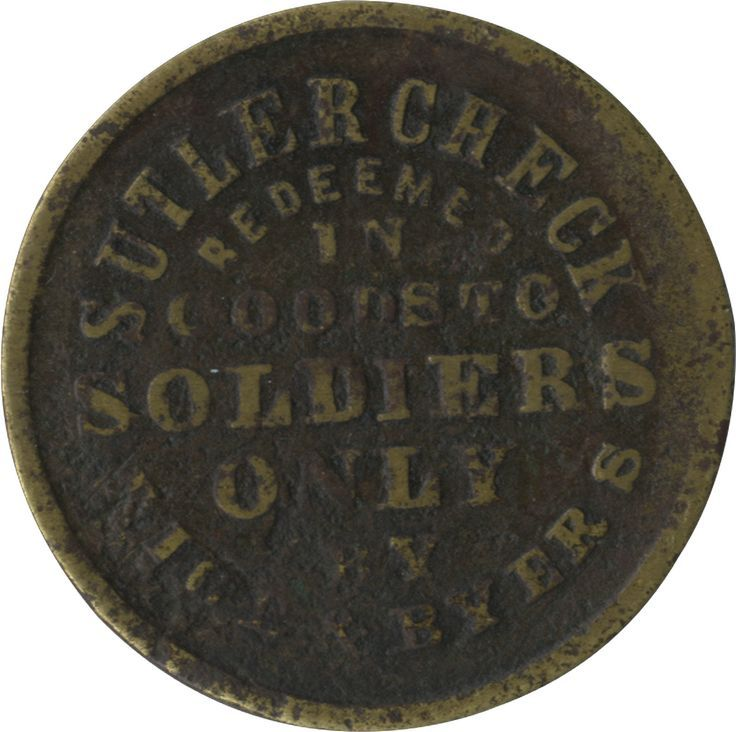 """""""Rice and Byers"""" Rare Fort Sill Indian Territory Sutler Coin, circa. 1870s"""
