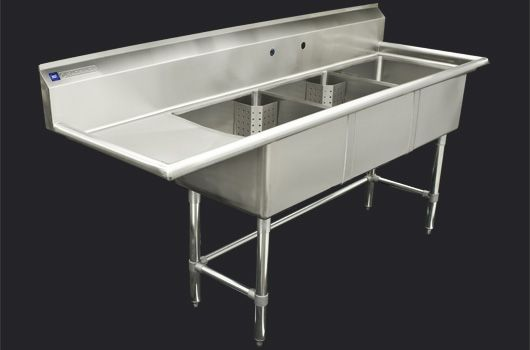 """Triple 18"""" Stainless Steel sink with drainboard  Model: TTS-1818-L18. Also available in 24"""" model."""