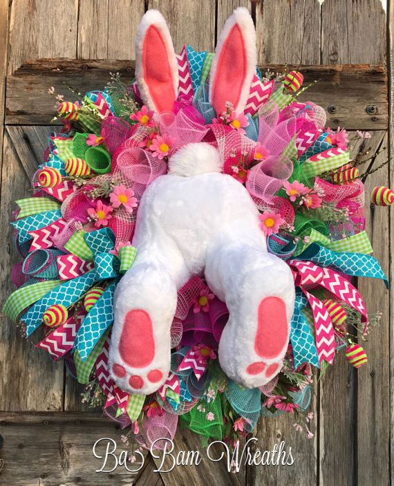 Easter Mesh Wreath Bunny Wreath Bunny Butt Spring by BaBamWreaths
