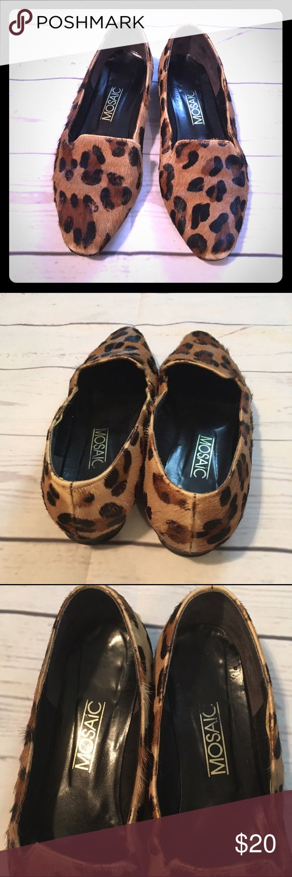 Mosaic Pony Hair Leopard Print Flats Super cute and in good pre owned condition! Size 9. Great fall staple! mosaic Shoes Flats & Loafers