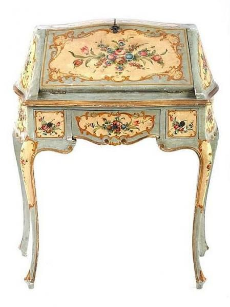 19th century painted desk, Italy-I wish I could paint furniture like this