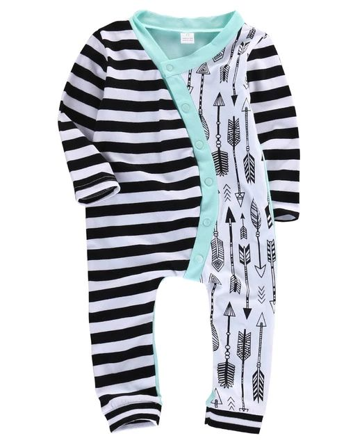 Cute Infant Baby Girl Boy Stripe Arrow Romper Long Sleeve Cotton Jumpsuit Playsuit Outfits 0-18M