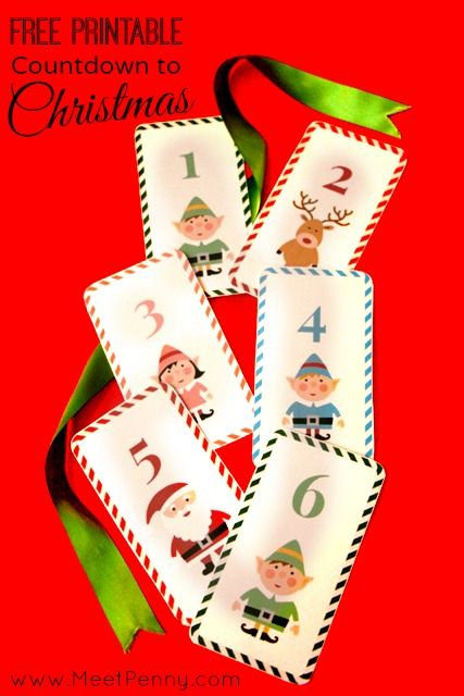 Free Countdown to Christmas you can print to create an activity calendar for December...cute for a kids room, playroom or classroom.