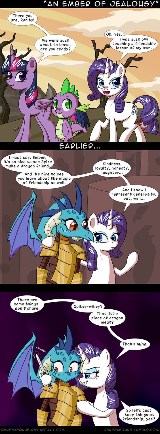 Whenever Somebody Says That SpikeXRarity Is Dead: Yikes! Chill out, Rarity! Spike and Ember are just friends! Besides, Spike is still just a baby dragon for crying out loud! DX