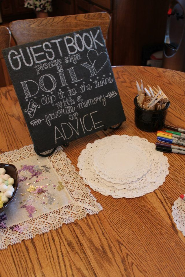 #bridal shower #guestbook #lace doily #chalkboard