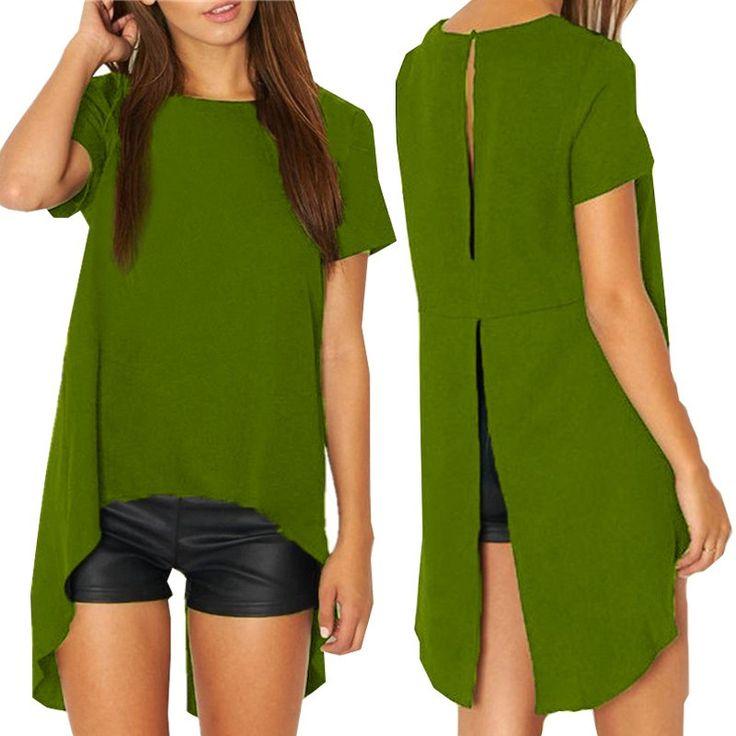New Summer Blusas Women Blouses Chiffon Split Backless Short Sleeve Casual Blouse Loose Irregular Hem Tops Plus Size