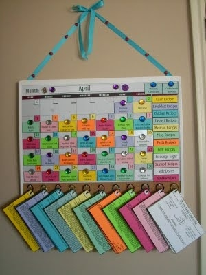 Meal Planning Calendar. Pretty sure I will never do this but that is awesome. Kuddos to people that do!