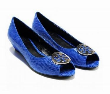 Tory Burch Heels New Blue / Gold Carol Wedge Shoes 3546