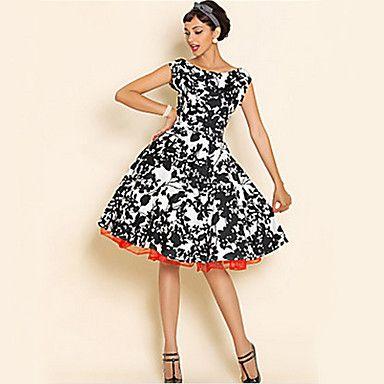 Vestidos ( Algodón )- Cosecha / Impresión Cuello ancho Sin Mangas para Mujer – USD $ 15.99
