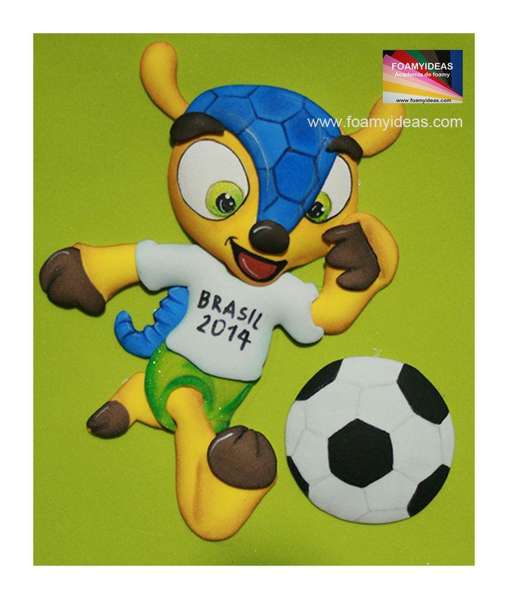 Fuleco. Mascota de Mundial de 2014. Puedes decorar con este cuadro tan tierno la pared de la habitación de tu hijo o también la tapa de su cuaderno o agenda. Molde:     http://www.foamyideas.com/moldes/deporte/fofucho-plano-fuleco-cuadro/details