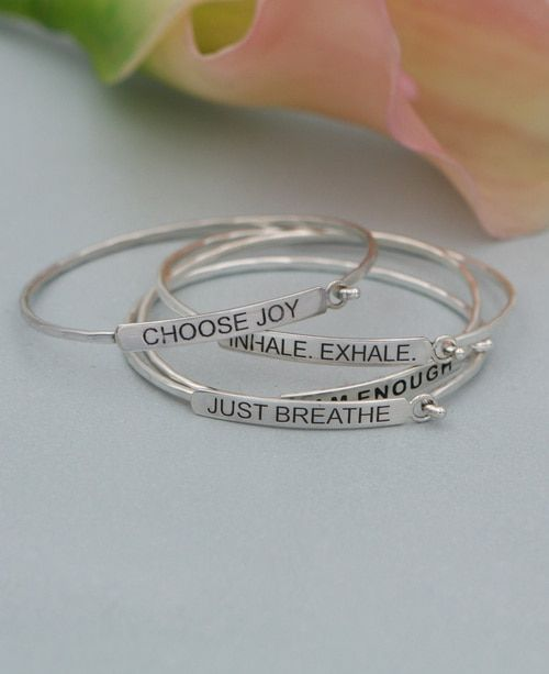 520a74fe737f29 Inspirational Bar Bracelets Bracelet Quotes, Jewelry Quotes, Silver Bars,  Emerald Jewelry, Sterling