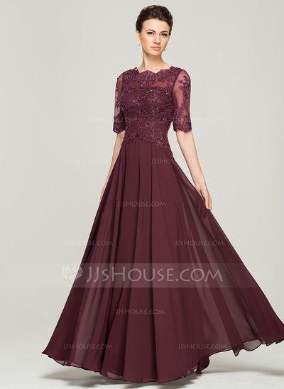 Vestidos princesa/ Formato A Decote redondo Longos De chiffon Renda Vestido para a mãe da noiva com Bordado Lantejoulas (008062570)