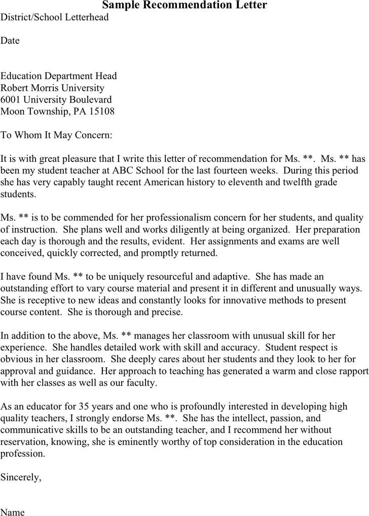 sample recommendation letter for masters program