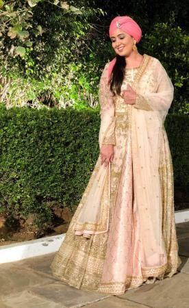 4e6581a97 Harshdeep Kaur in kalki Light peach raw silk lehenga paired with ...