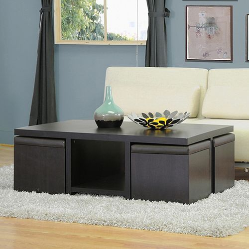 What a super smart and stylish coffee table solution. Bookshelf storage in the middle underneath and 4 nesting ottoman cube seats that provide hidden storage, conserve space and provide extra conversational seating for entertaining. I want it!  http://www.kohls.com/product/prd-2131770/baxton-studios-prescott-5-piece-modern-table-stool-set.jsp?color=Dark%20Brown