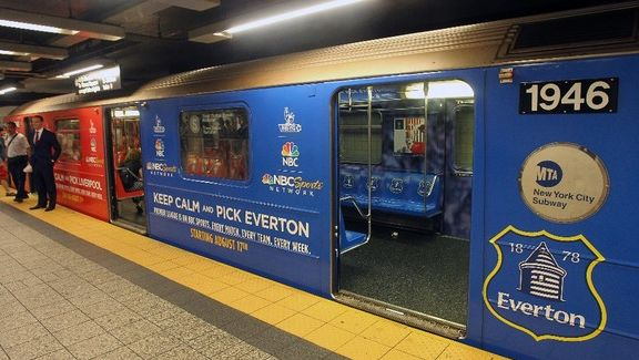 Keep Calm and pick Everton.  New York City subway trains have been kitted out with the colours of English football clubs ahead of the start of the new Premier League season.