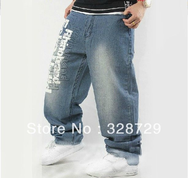 Хип-хоп джинсы мужская хип-хоп скейтборд носорог жира лао большой размер свободного покроя брюки брюки хип-хоп европа