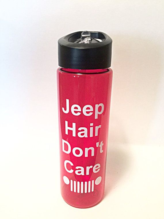Jeep Hair Don't Care Tumbler with Straw 16 oz - Travel Cup - Wrangler - Cherokee - Grand Cherokee - Compass - Commander - Red Tumbler
