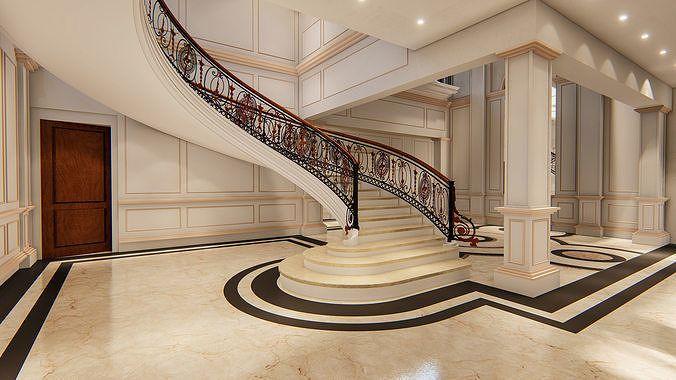Stair Case Interior Design With Living Room 3d Model Stairway Design Spiral Stairs Design Architecture Building Design Stair design architect room design
