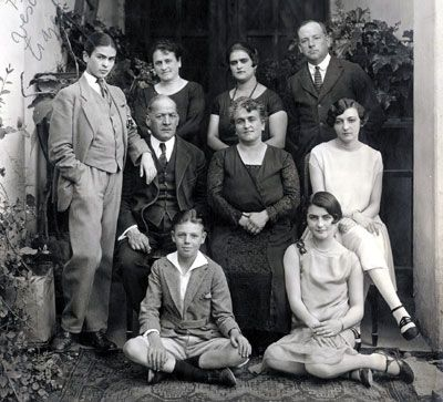 this photo of Frida Kahlo's family (she's standing up on the left in the middle row wearing a man's suit)