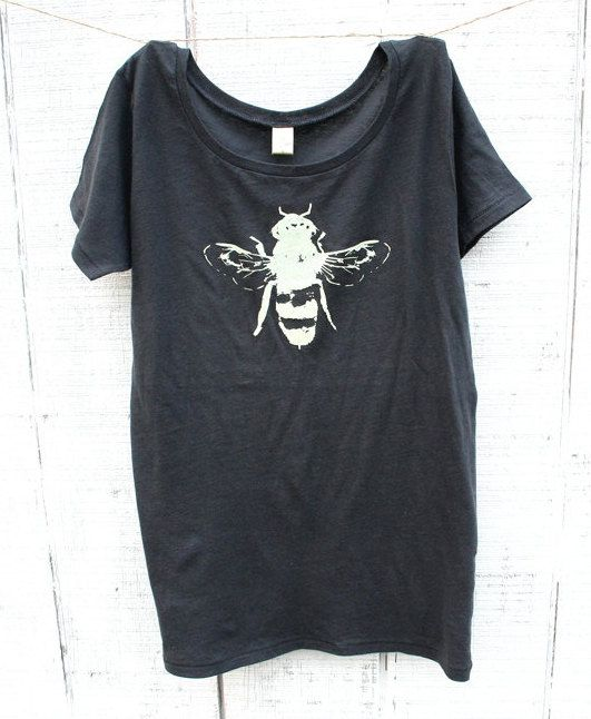 Womens T-shirt  Honey Bee  Earth Friendly  Grey by naturwrk