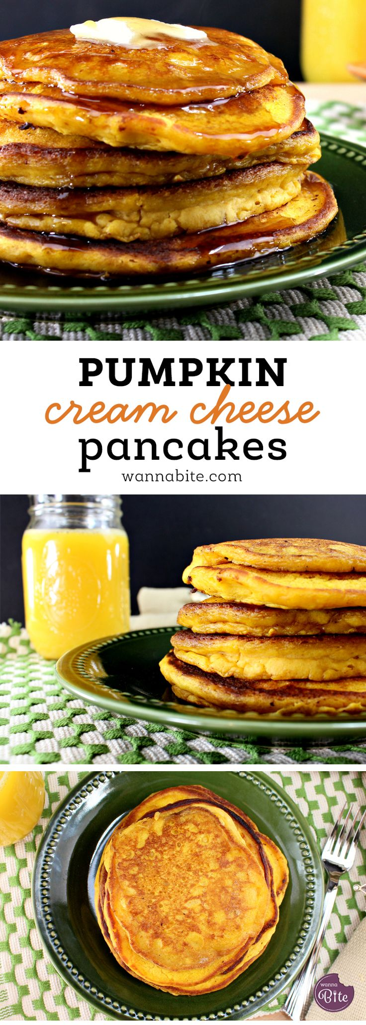 You must try these pumpkin cream cheese pancakes! Moist and creamy these are sure to impress!! via @Wannabite