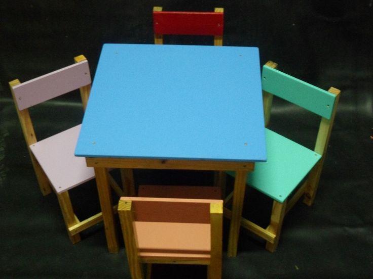 Mesa Com Cadeira Infantil Em Madeira...mesinha De Criança