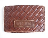Brown woven cici id holder