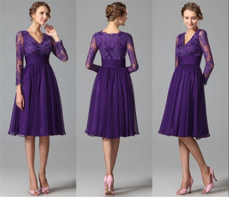 Long Sleeves Purple Bridesmaids Dresses 2015 A Line V Neck Vintage Lace Short Bridesmaids Dresses Chiffon Beach Formal Dresses-in Bridesmaid Dresses from Weddings & Events on Aliexpress.com | Alibaba Group