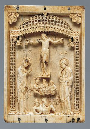 Plaque with the Crucifixion and the Defeat of Hades, mid-10th century  Byzantine; Probably made in Constantinople  Ivory -A masterpiece in the corpus of Byzantine ivory icons, this small representation of the Crucifixion is the only surviving portion of a triptych whose wings are now missing. It was probably used as a personal devotional object in a private setting.