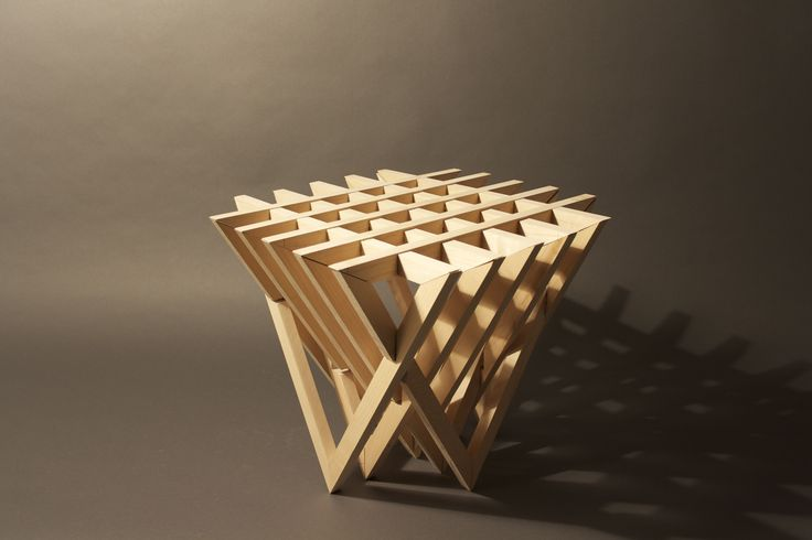 Tri by designer and storyteller Cody Blazek, (stool, table). The Challenge: Design furniture with one standard 2x4 piece of lumber with no waste and no type of fasteners. http://www.blazekdesigns.com/work/#/new-gallery/