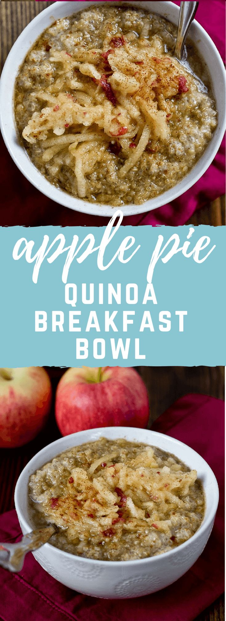 This Apple Pie Quinoa Breakfast Bowl will make your fall weather loving life. It's spicy and topped with shredded apples, FTW.