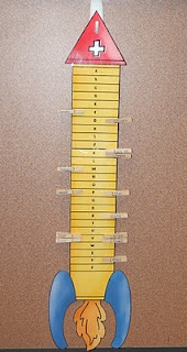 Rockin' Teacher Materials: Rocket Math Rocks! Student names on the clothes pins.  Clip on rocket to show progress.