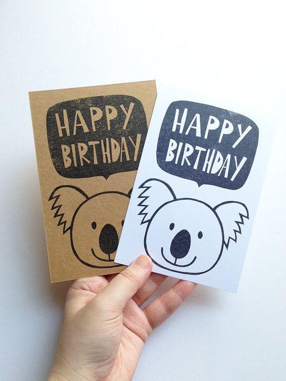 happy birthday greeting card. koala hand printed by talktothesun