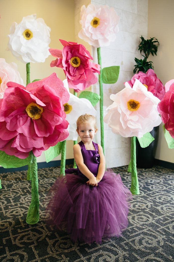 Giant flowers made out of tissue paper!