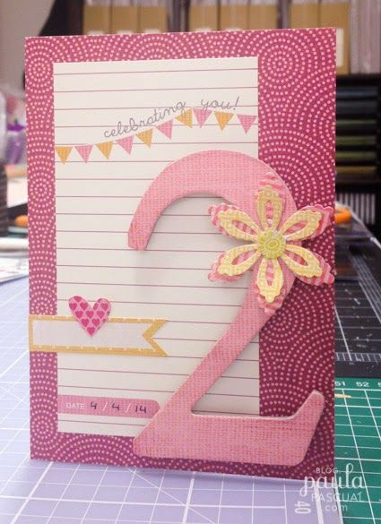 Paula Pascual: A birthday card for a little girl -  intricate Flowers Sizzix dies by Paula Pascual. Basic Grey papers and stickers