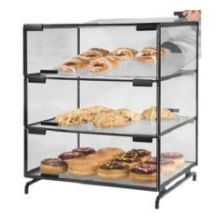 Black Powder Coated Metal Structure 3 Level Pastry Display Case