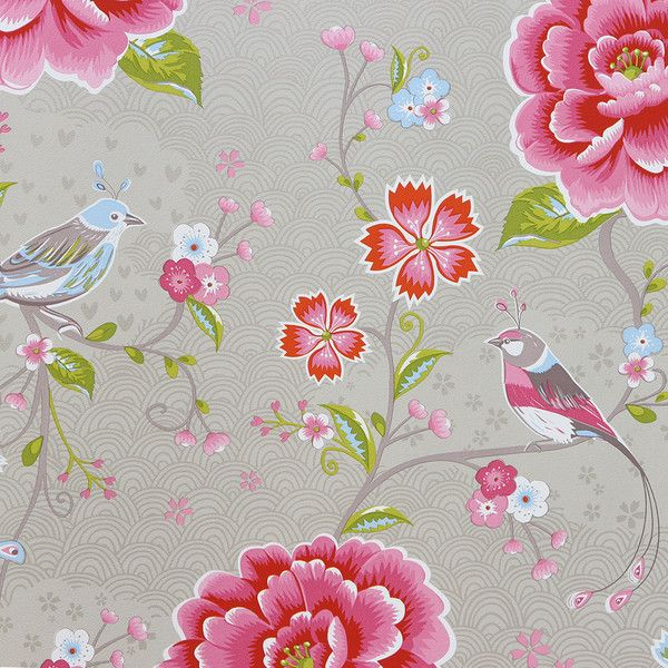 Pip Studio Birds in Paradise Wallpaper - 313014 Khaki (£62) ❤ liked on Polyvore featuring home, home decor, wallpaper, flower home decor, flower stems, floral pattern wallpaper, floral home decor and flower pattern wallpaper