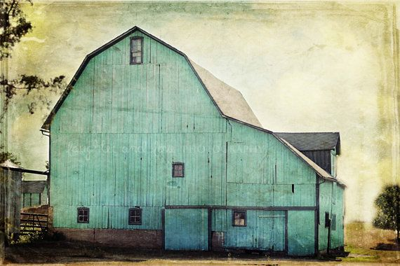 Aqua Barn 24x36 Gallery Wrapped Canvas Fine Art Photography Shabby Chic Mint Green Turquoise Teal Country Rustic Home Decor Wall Art on Etsy, $429.83 CAD