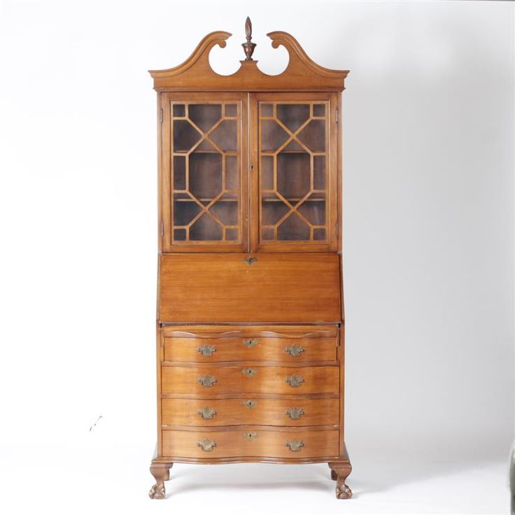 """American secretary cabinet with lock, claw feet, and finial topper. H ? x W 31"""""""