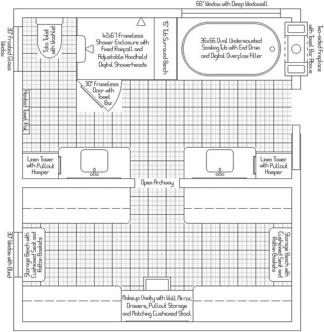 13 x 7 master bath plans master bath closet layout for Master bath and closet plans
