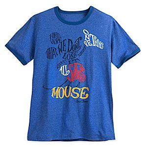 Mickey Mouse Text Art Tee for Men | Disney Store Walt Disney's famous quote will never let you lose sight that it was all started by a mouse on this heathered text art tee forming Mickey's image.